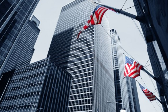 US commercial property with flag