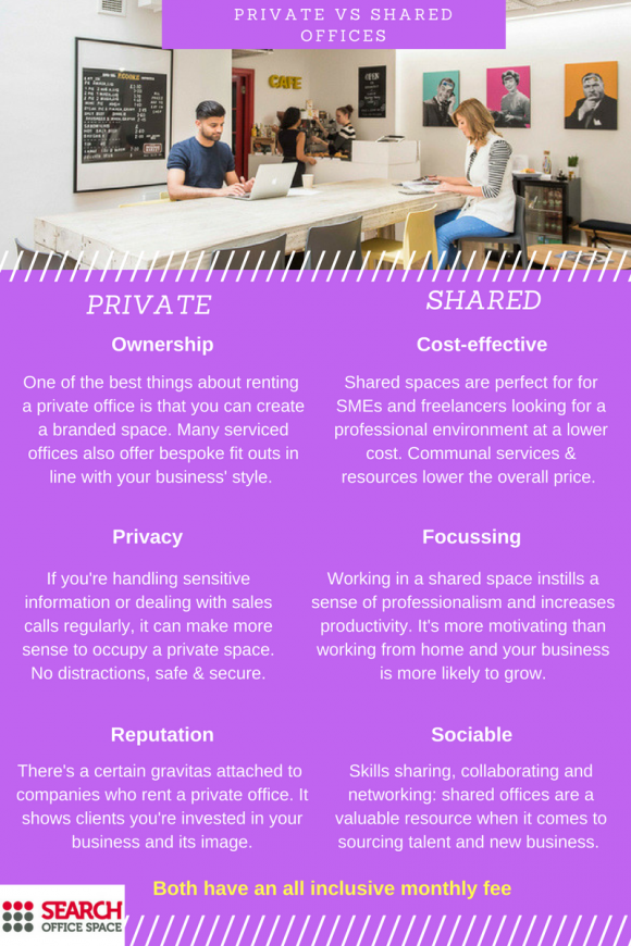 Private and shared offices infographic