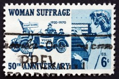 Postage stamp USA 1970 Suffragettes, 1920 and Voter, 1970