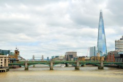 Southwark bridge with the Tower bridge and skyscraper