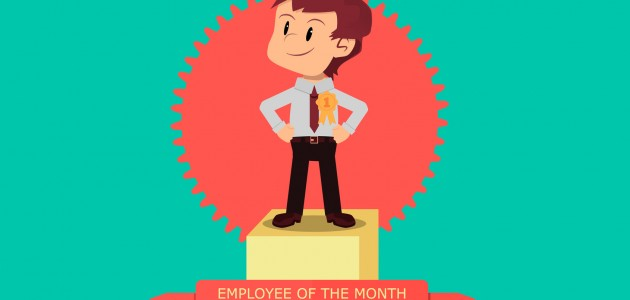 Employee of the Month. Motivated employee receives first prize in winners' podium