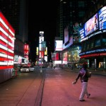 Lone Pedestrian in Times Square (AP Photo/ John Minchillo)
