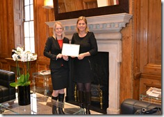 Kate and Louise receiving the BCE Award in the beautiful reception area